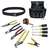 Klein Tools 92003 Electrician Tool Kit With an Array of Klein Tools, Comes in 18-Pocket Nylon Tool Pouch, 12-Piece