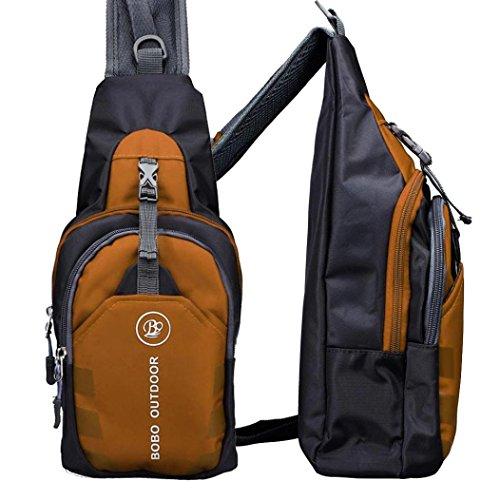 Malloom Hombres Bolso Bandolera Bolsa de hombro (negro) naranja