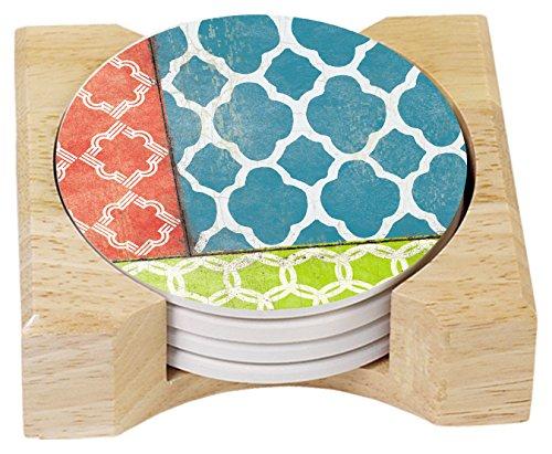 CounterArt Absorbent Coasters Wooden Quatrefoil