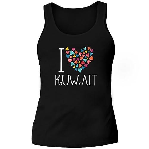 Idakoos I love Kuwait colorful hearts – Paesi – Canotta Donna