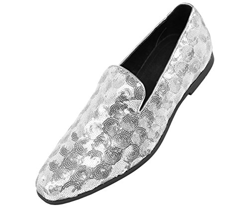 Sequin and Comfortable Loafer Smoking Shoes On Slipper Mens Silver Slip Diamond Amali Patterned Dress Nightclub Circle wSYgq55t