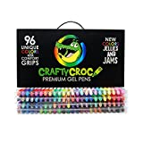 (US) Crafty Croc Gel Pens Coloring Set - Glitter, Neon, Metallic, White with No Duplicates, Set of 96 Unique Colors with Artist Comfort Grips