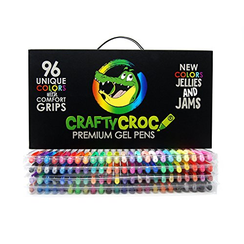 Gel Pens for Adult Coloring Books by Crafty Croc – Premium Refillable Ink Gel Pen Set With Case Includes 96 Artist Quality Coloring Pens: Glitter, Metallic, Pastel (1 White), Neon, Fluorescent