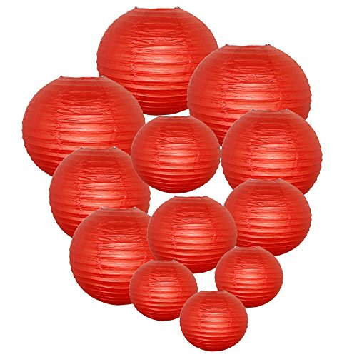 Just Artifacts Decorative Round Chinese Paper Lanterns 12pcs Assorted Sizes (Color: Dark Red)
