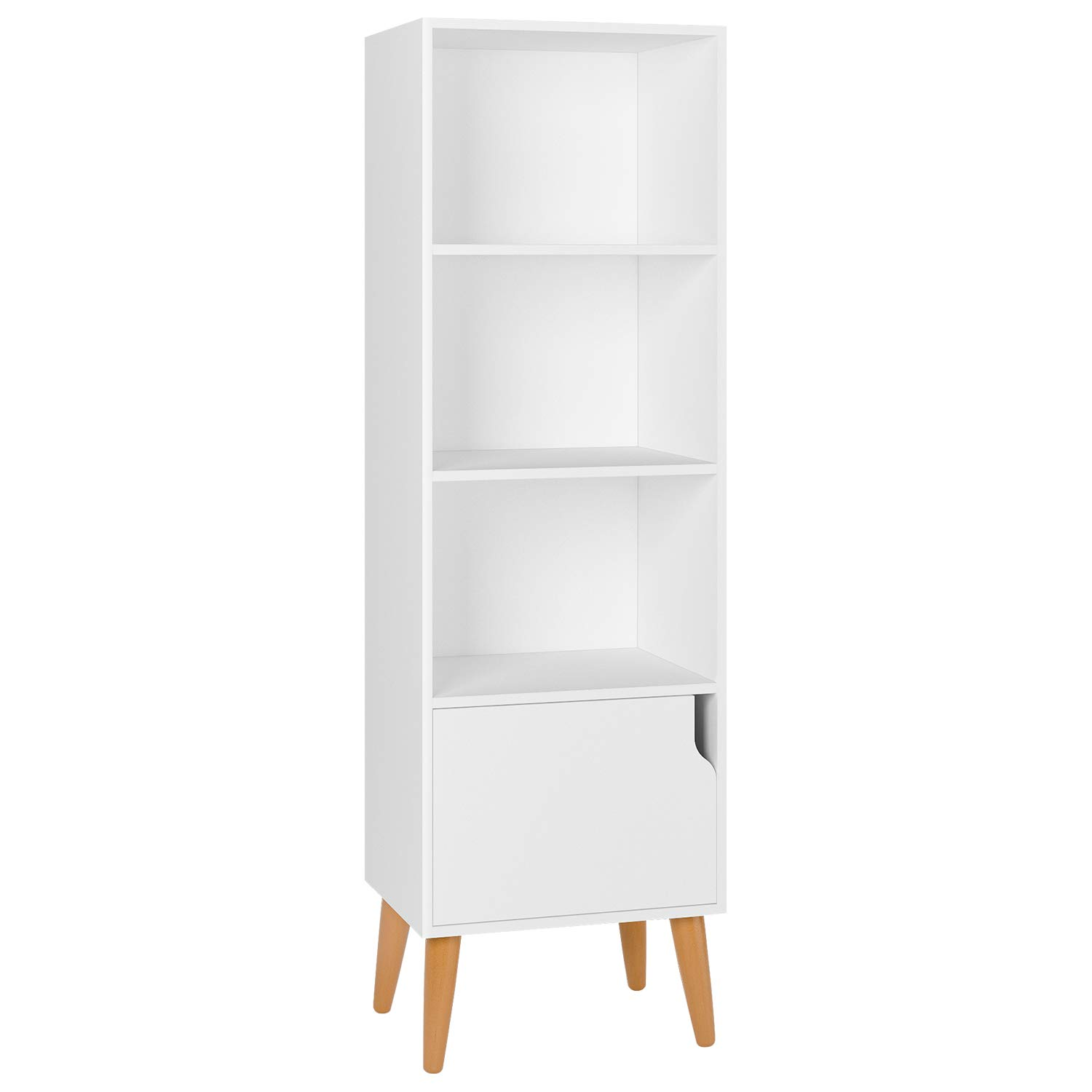 Homfa Wooden Bookcase 4 Cubes Storage Unit Bookshelf Free Standing Shelves with Door Legs 40x30x129.5cm White HF