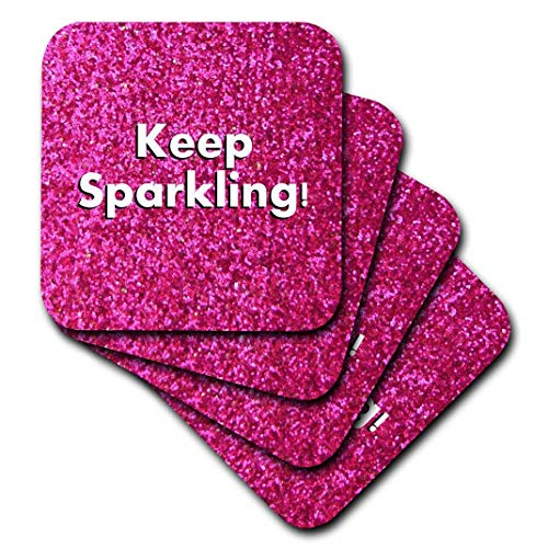 3dRose CST_112891_2 Keep Sparkling-Fun Cute Girly Hot Pink Faux Glitter Texture Graphic-Glam Glamorous Girls Bling-Soft Coasters, Set of -