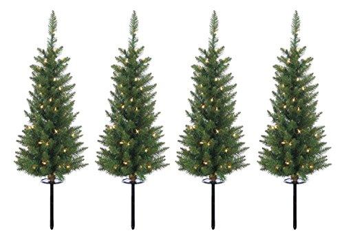 Outdoor Lighted Christmas Tree Set