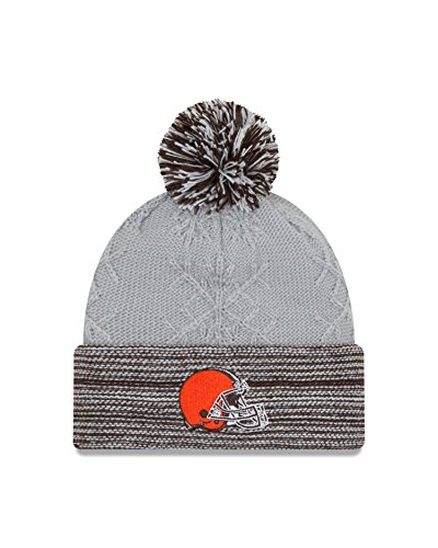 New Era NFL Cleveland Browns Women's Snow Crown Redux Knit Beanie, One Size, Gray