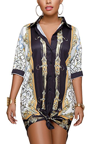 Kafiloe Women Fashion Graphic Print Half Sleeve Casual Loose Button Down Shirt Dress Blouse Top Style A S