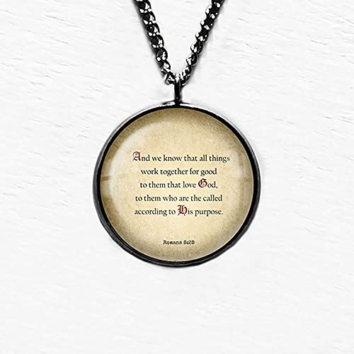 Romans 8:28 All Things For Good Engraved Silver Heart Necklace