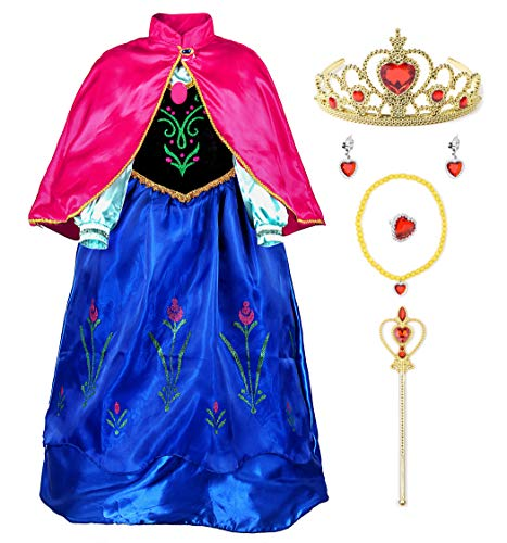 JerrisApparel Snow Party Dress Queen Costume Princess Cosplay Dress Up (3-4, Anna with Accessories) ()