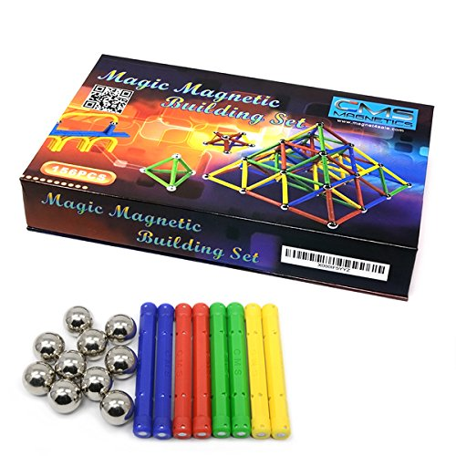 (CMS MAGNETICS 156 Piece Magnetic Building Set with 96 Magnet Sticks and 60 Steel Balls - Brain Toys, Family Fun for all Ages)
