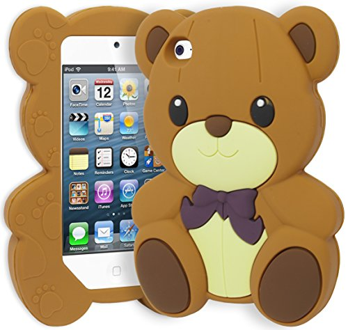 iPod Touch 4 Case, Bastex Cute 3D Silicone Brown Teddy Bear Flexible Gel Case Cover for Apple iPod Touch 4