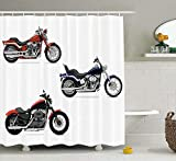 KANATSIU Three Motorcycles Freedom Transport Risky Extreme Sports Themed Shower Curtain,with 12 plactic hooks,100% Made of Polyester,Mildew Resistant & Machine Washable,Width x Height is 72X72