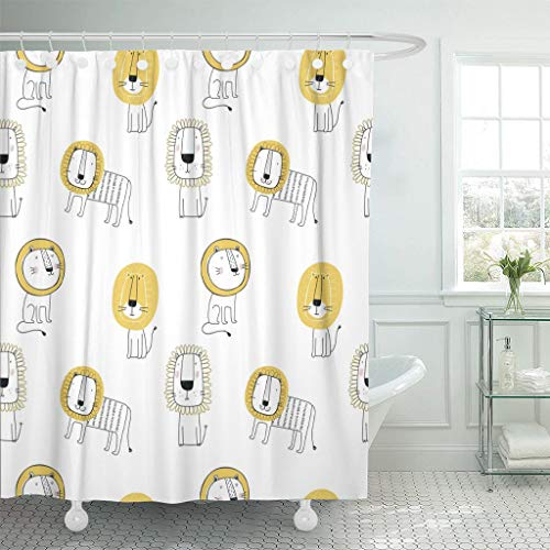Emvency Fabric Shower Curtain with Hooks Yellow Childish with Cute Lion Kid Animal Cat Leo Character Adorable Wildlife Extra Long 72