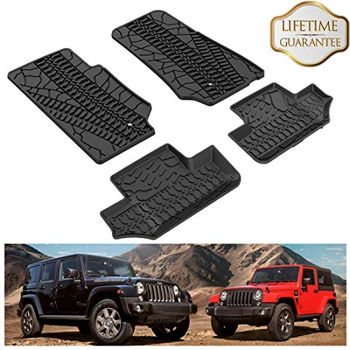 KIWI MASTER Floor Mats Compatible for 2007-2013 Jeep Wrangler JK 2-Door Front & Rear Row TPE Floor Liners All Weather Protection Slush Mat Black