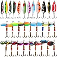Fishing Hooks Spinnerbaits Spoon Lure Kits with Tackle Box Spinnes for Bass Trout Salmon Walleye Hard Metal Sp
