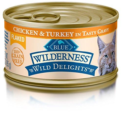 BLUE Wilderness Wild Delights Adult Grain Free Flaked Chicken & Turkey in Tasty Gravy Wet Cat Food 3-oz (pack of 24)