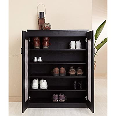 Florina Frosted Glass Front Shoe Cabinet - Black