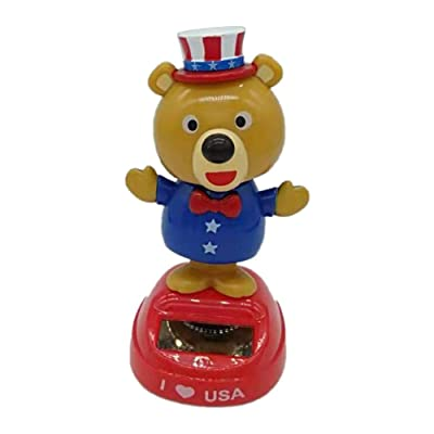 IMCROWN Solar Shaking Head Doll,Swinging Bear Car Decoration Cartoon Car Doll Car Interior Kids Toys Gift for National Day(United States) Kids Toy Home Decoration Car Decoration: Home & Kitchen