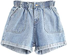 Womens' Elastic Waist Summer Denim Shorts Jeans
