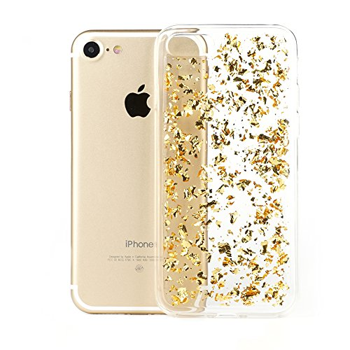 iPhone 7 Case TycoonYu Luxury Soft Bling Glitter Faceplate Sparkle Platinum Leaf TPU Protective Fashion Design Bumper Cover for iPhone 7 (Gold)