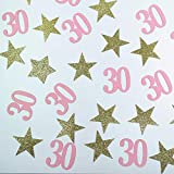 100 Counts Gold Star and Pink number 30 Table Confetti 30th Birthday/Age Thirty Party Paper Scatters