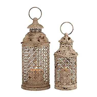 Deco 79 Metal Glass Lantern, 12 by 10-Inch