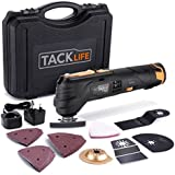 Tacklife Oscillating Tool Cordless 12V, Combat Multi Tool with 2.0Ah Lithium Battery, 6 Variable Speed, Quick Change Fitting, 24pcs Accessories Includes Cutting Discs, Blades, Sander Sheets/PMT01B.