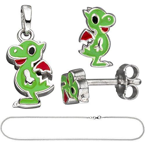 Jobo Niños joyas Juego de pequeño dragón 925plata verde lacado con cadena 42cm