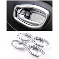 FMtoppeak Silver Matte 4 pcs Car Inner Door Handle Bowl Cover Trim Frame for Jeep Renegade 2014 UP