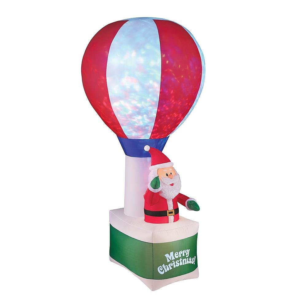 8 Ft Christmas Santa Hot Air Balloon Airblown Inflatable Kaleidoscopic by Trim A Home