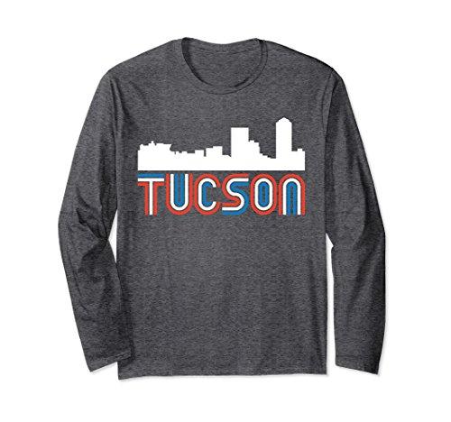 Unisex Red White Blue Retro Tucson AZ Skyline Long Sleeve T-Shirt Small Dark - Az Skyline Tucson