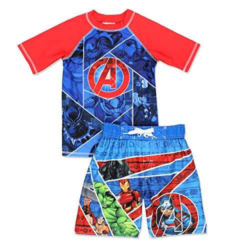 Avengers Superhero Boy's Swim Trunks and Rash Guard Set (7, Blue/Red)