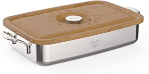 Lagostina Heritage Lasagera with Wooden Lid, Stainless Steel