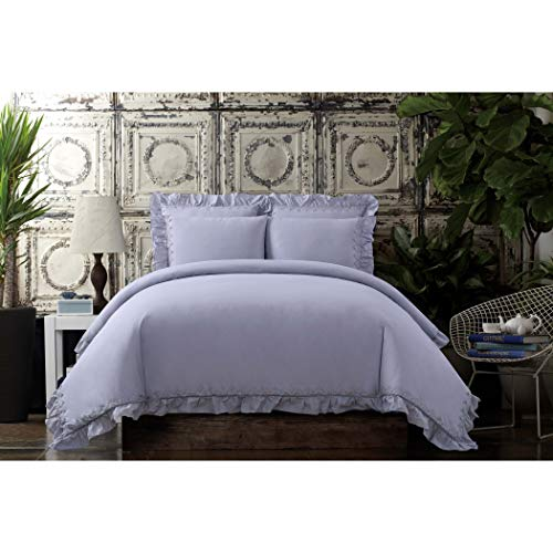 Cottage Classics Washed Cotton Voile Ruffle Full/Queen Duvet Cover Set ()