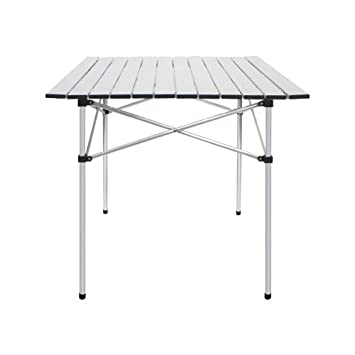 Peachy Deanurs Aluminum Folding Tables Camping Roll Up Portable Square Table For Outdoor Hiking Picnic 28 X 28 W Carry Bag Silver Inzonedesignstudio Interior Chair Design Inzonedesignstudiocom