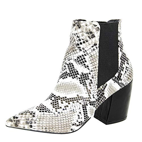 Themost Snakeskin Ankle Boots Womens Grey Snake Print Booties Short Chunky Heel Boot Pointed Toe ()