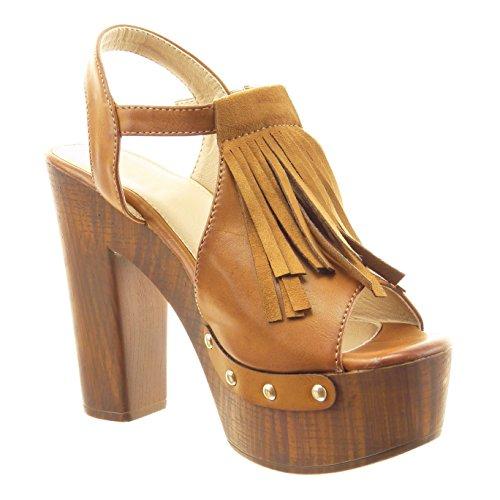Sopily - Chaussure Mode Sandale ouverte Cheville femmes frange clouté Talon haut bloc 12 CM - Intérieur synthétique - Camel