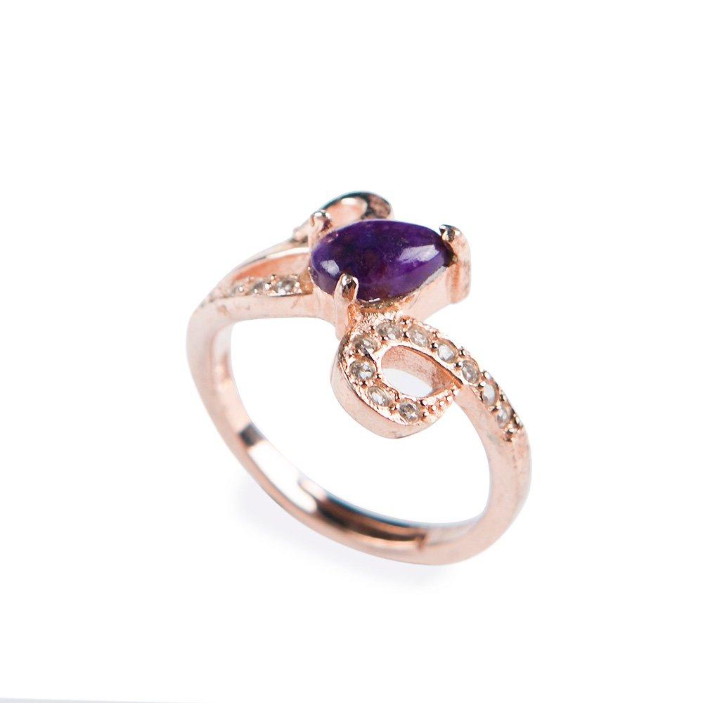 Semi-Gem Natural Sugilite Gemstone Purple Crystal Bead Wedding Rings