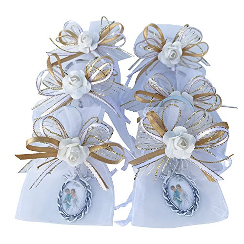 Wedding Favors Groom Key Chain - 12 Pcs Wedding Keychain Favor with decorated organza bags