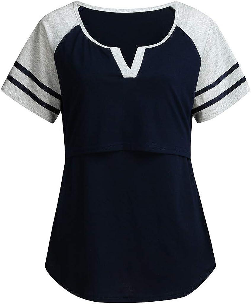 Juliyues Umstandsshirt Damen Stillshirt Kurzarm Layered Mutterschaft Stillen Tunika Bluse Schwangerschaft Kleidung Umstandshemd Oberteile Umstandsmode