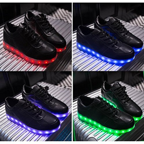 Toalla a 7 Unisex junglest De Luz Zapatillas Cut Negro Low Peque Zapatos USB LED Carga Colors Presente Luminosas de Flash qXwxxECt