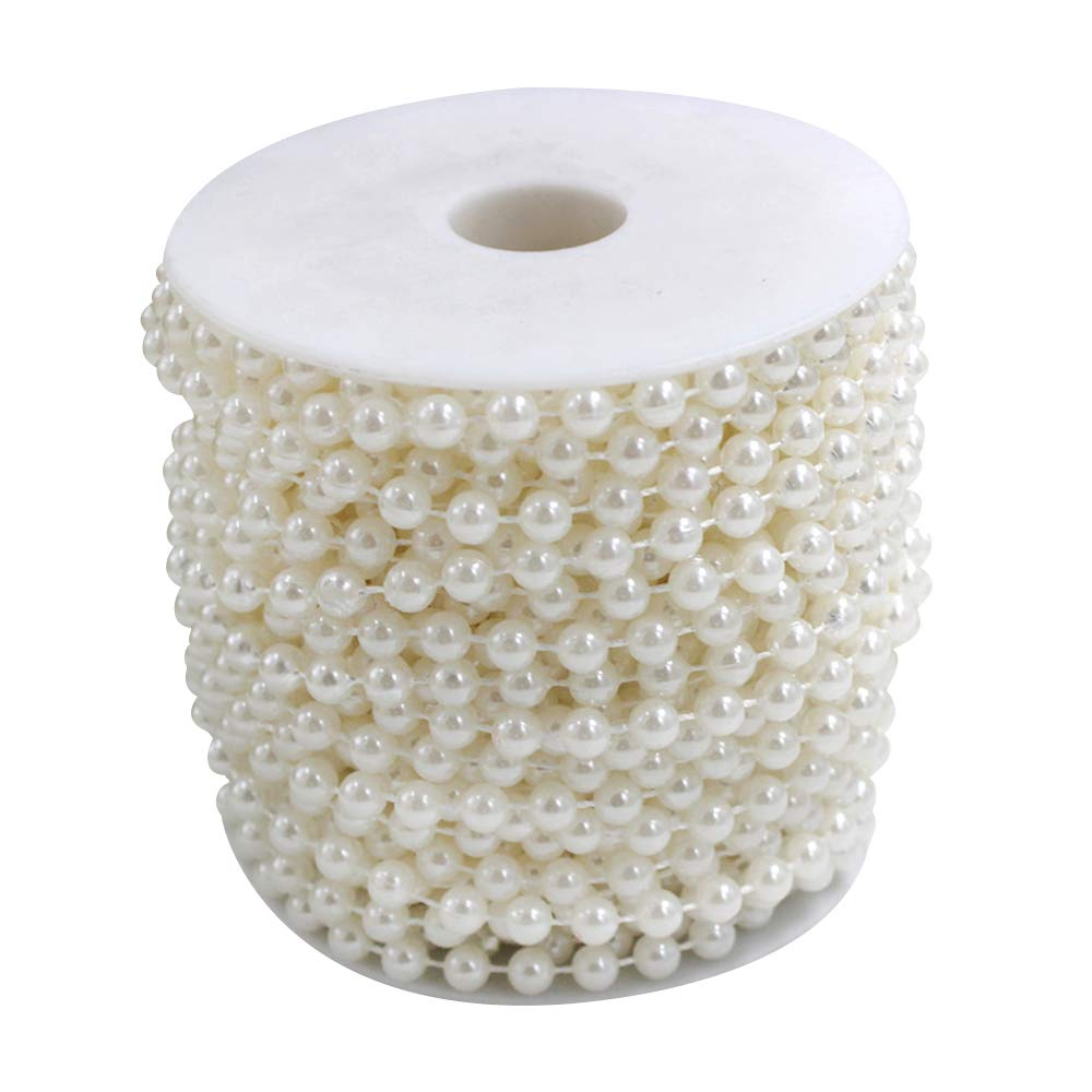 Wispun 6mm Pearl Bead Garland Spool Rope Wedding Centerpiece Decor 20M=65ft (ivory) China