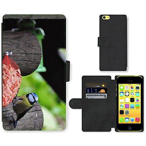 Just Phone Cases PU Leather Flip Custodia Protettiva Case Cover per // M00127297 Mésange charbonnière Mésange oiseaux de // Apple iPhone 5C