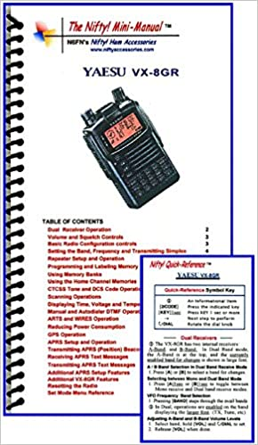 Yaesu vx-8gr mini-manual and card combo by nifty accessories.