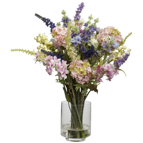 Nearly Natural 4760 Lavender and Hydrangea Silk Flower Arrangement, Mixed ()