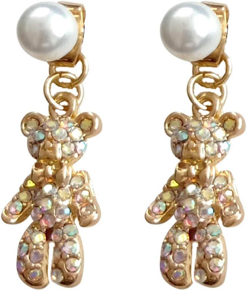 Pendientes hembra S925 aguja de plata pendientes de oso de diamantes dulces y frescos pendientes de niña pendientes de temperamento