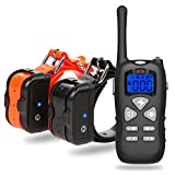 Dog Training Collar IP67 Waterproof and Rechargeable 330 yard Remote Control Shock Collar with Beep, Vibration, LED Lighting for All Size Dogs, Two Electric Collar Receivers Included(Black+Orange - 2 Dogs)- Katze Tatze