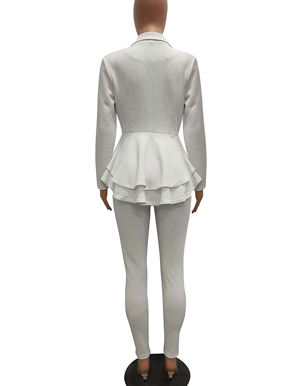 Long Sleeve Solid Color Ruffled Jacket Skinny Pants Suits Set Womens 2 Piece Blazer Suit